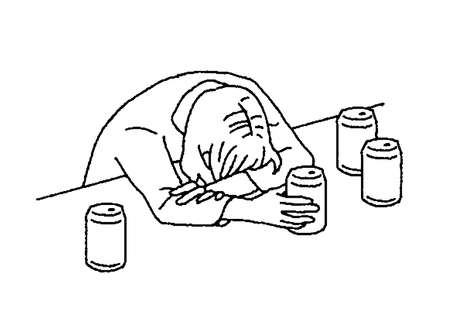 Simple touch illustration of a woman sleeping drunk