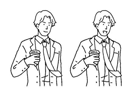 Illustration of a young man businessman with coffee Ilustrace