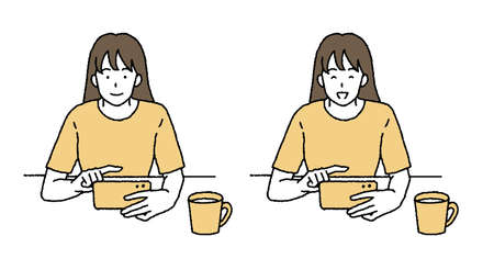 Illustration of a woman watching a movie with a simple touch smartphone Ilustrace