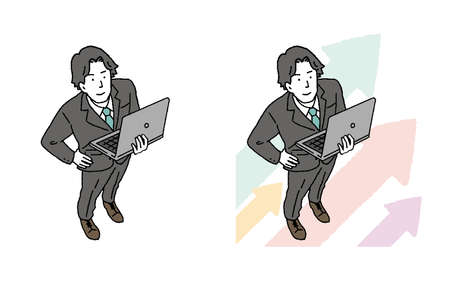 Illustration of a businessman man with a personal computer