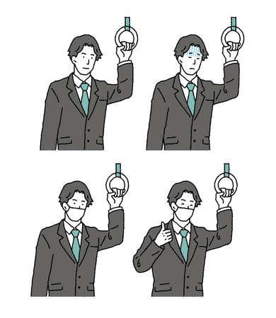 Simple touch Illustration set of businessman commuting by train