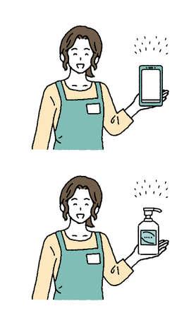 Simple touch illustration set of shop clerk woman
