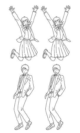 Simple touch jumping male and female student illustration