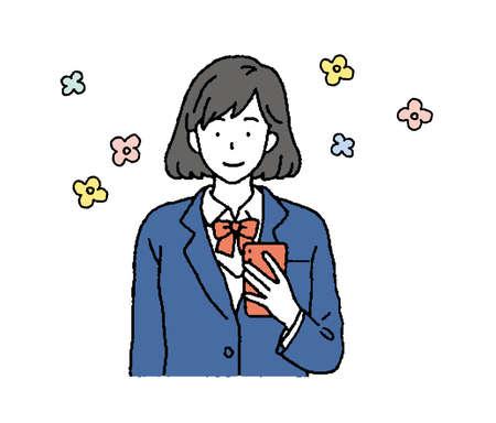 Illustration of schoolgirls using smartphones