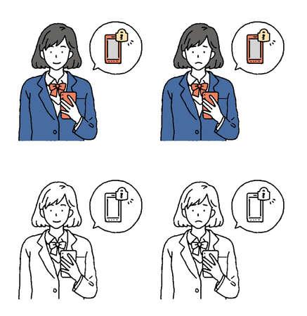 Illustration of schoolgirls to enhance the security of smartphones