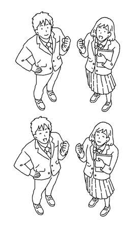 Simple touch illustration of male and female students with bird's-eye view Ilustrace