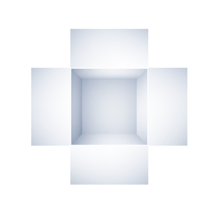 shipped: top view of open white box on white background.