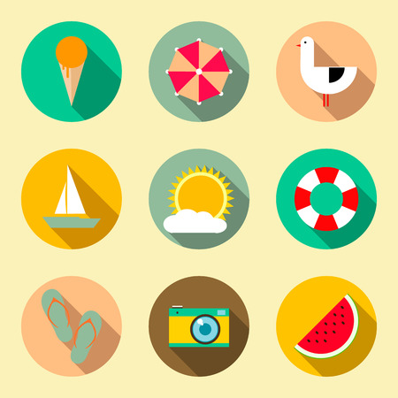 Flat icons set with long shadow effect. Traveling, tourism, vacation theme.