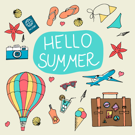 summertime: set of sketch design element summer theme with lettering Hello Summer