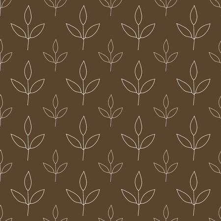 braun: white leaves pattern seamless backdrop on braun Stock Photo