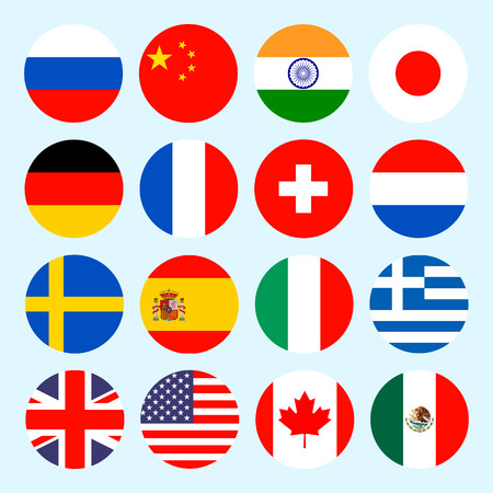Circle flags  of the world. Flags icons in flat style. Simple  flags of the countries