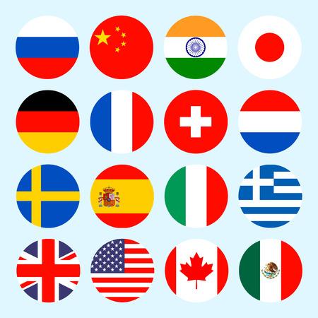 drapeau anglais: Drapeaux du Cercle du monde. Drapeaux icônes de style plat. Simples drapeaux des pays Illustration