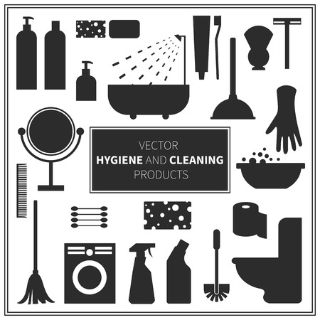 ruff: hygiene and cleaning products icons. Cleaner and toilet paper, toothpaste and mirror, sponge and washing machine and mop