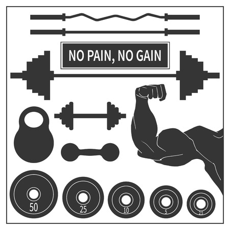 Set of icons of sports equipment for the gym, vector illustration. Barbell and dumbbell, kettlebell.