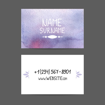 paper texture: blue business card vector watercolor Illustration