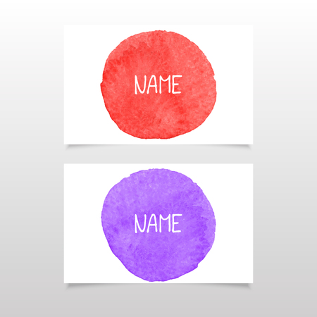 violet red: red and violet business card vector watercolor.