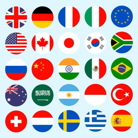 Banderas Círculo del vector del mundo. Banderas iconos de estilo plano. Banderas del vector simple de los países.