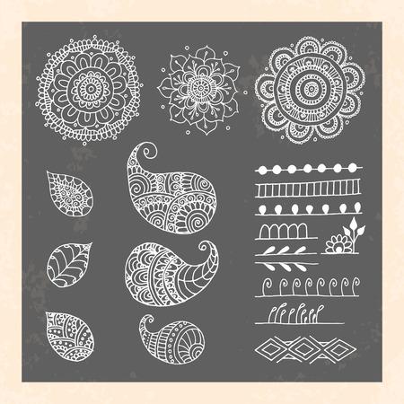 mhendi: Henna tattoo doodle vector elements on black background. Abstract floral vector illustration design elements.