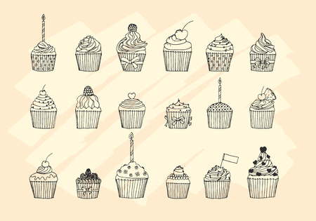 cake background: Hand drawn sketchy set of cupcakes on a white background. Vector illustration for your design.