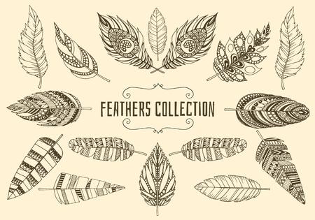 tatouage oiseau: Ensemble de plumes ethniques. Collection Vintage plumes tir�es de la main ethniques tribales.