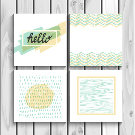 pastel backgrounds: Hello geometric seamless background pattern set abstract elements and typography cover postcard design in vector.