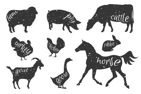 Set van landbouwhuisdieren silhouetten. Rundvlees, lamsvlees, varkensvlees, konijn, kip, ganzen, kalkoenen. Slagerij design template voor ambachtelijke vlees verpakking of food restaurant. Vector Illustratie