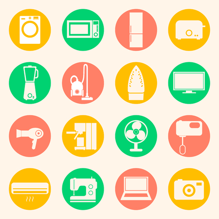 coffee blender: Web icons set of home appliances: washing machine and refrigerator, microwave oven and mixer, blender and toaster, coffee maker and espresso machine, iron and sewing machine. Design flat.