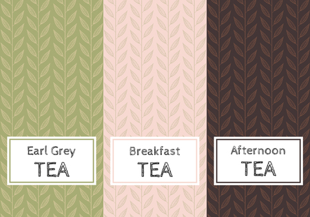 Vector set of templates packaging tea, label, banner, poster, identity, branding. Stylish design for black, green and herb tea.  イラスト・ベクター素材