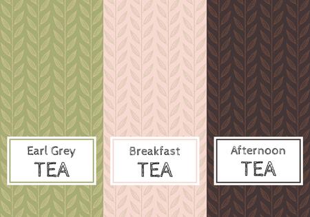 Vector set of templates packaging tea, label, banner, poster, identity, branding. Stylish design for black, green and herb tea. Ilustração
