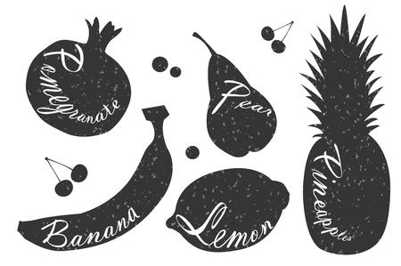 elegant white: Lettering on fruits. Black and white illustrations. Pomegranate and banana, lemon and pear, pineapple. Illustration
