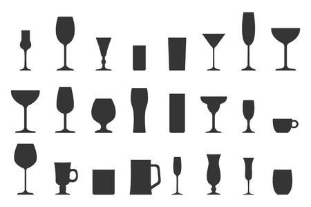 Illustrazione vettoriale di raccolta silhouette vetro. Set di diverse bevande isolato su sfondo bianco per la progettazione. Vettoriali
