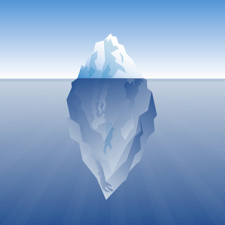 vector illustration of iceberg on a blue background