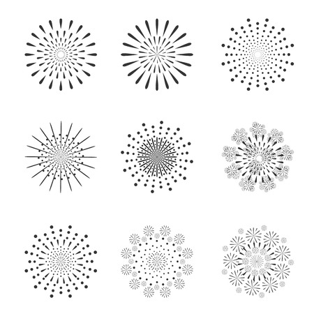 Holiday and party firework icons set isolated on white background. Vector illustration. Vectores