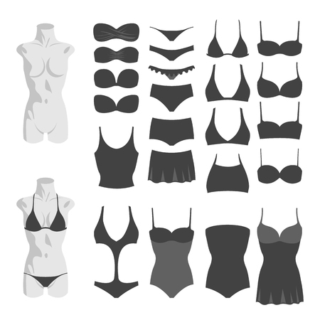 95f88ce9001783 Vector illustration of silhouettes swimsuits on white background. Swimwear  set with tankini