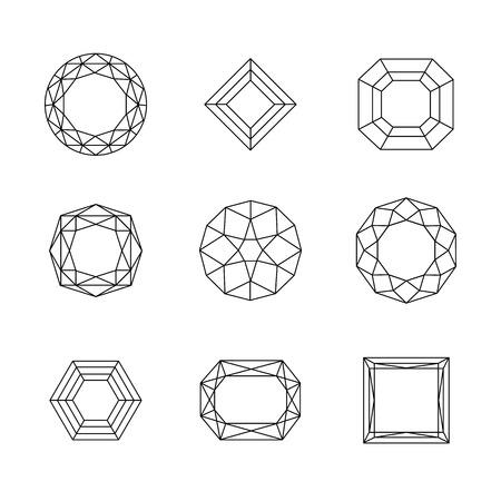 Vector set of diamond design elements. eps 10 Ilustração
