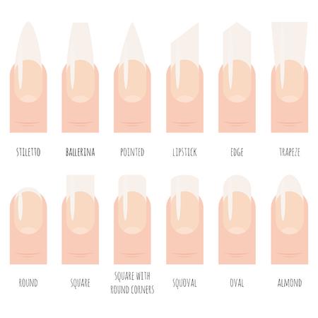 Nails shape icons set.