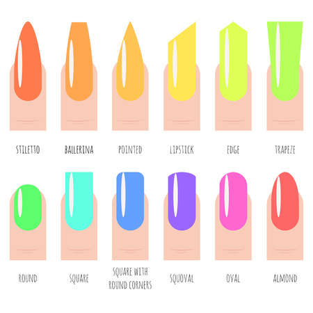 Nails shape icons set