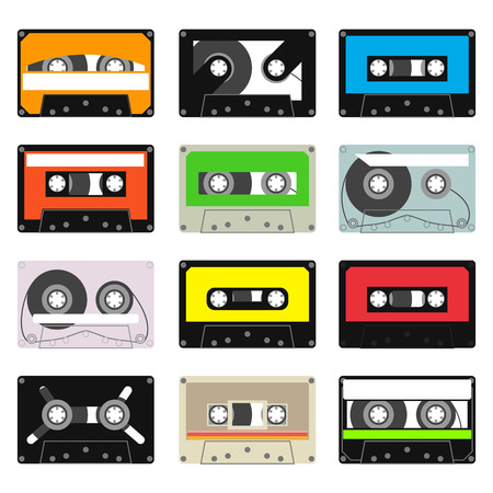 analogical: various vintage audio tapes - vector illustration