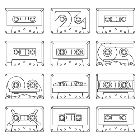 various vintage audio tapes - vector illustration