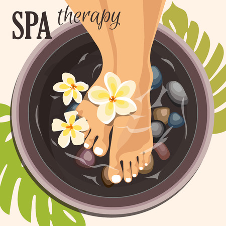 pedicure: Pedicure spa female feet Illustration