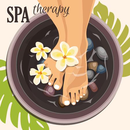 Pedicure spa female feet Illustration