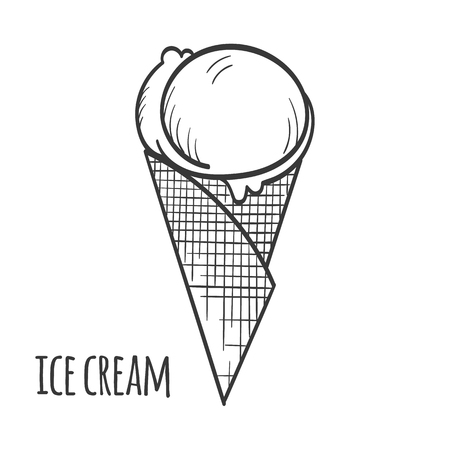 Ice cream in the cone on white background - vector illustration