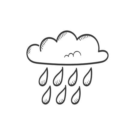 stormcloud: Cloud with rain vector sketch icon Illustration