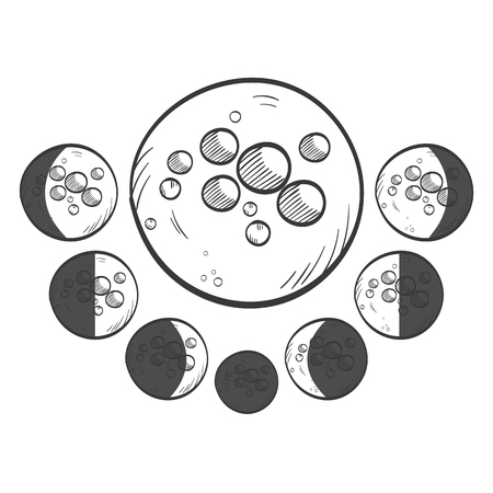 Phases moon vector sketch icon