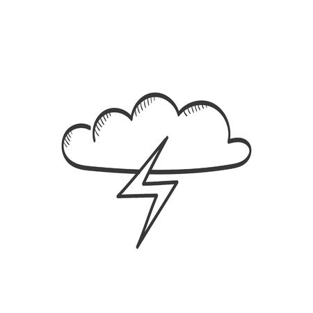 Lightning in cloud vector sketch icon Ilustração