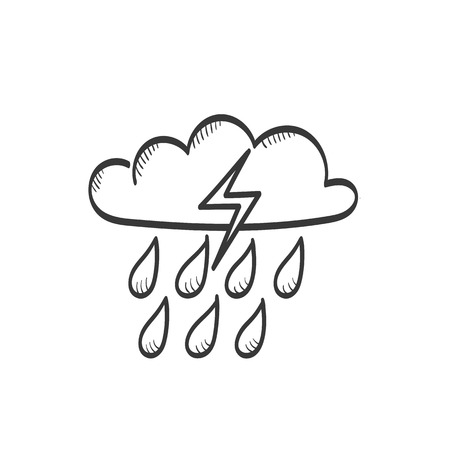 Cloud with rain and lightning vector sketch icon