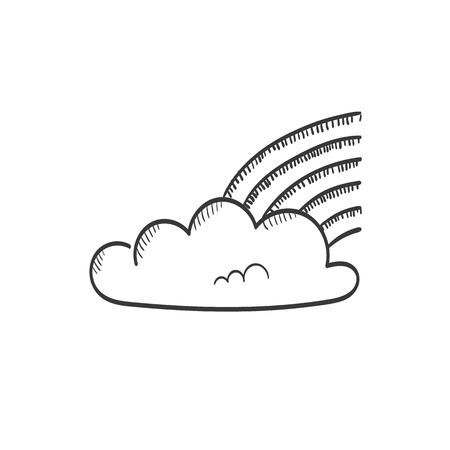 Rainbow in cloud vector sketch icon