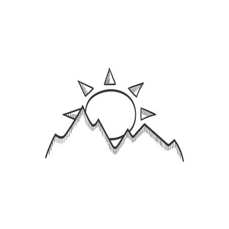 Sunshine in mountains vector sketch icon Ilustração