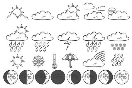 Weather sketch vector icon set Ilustração