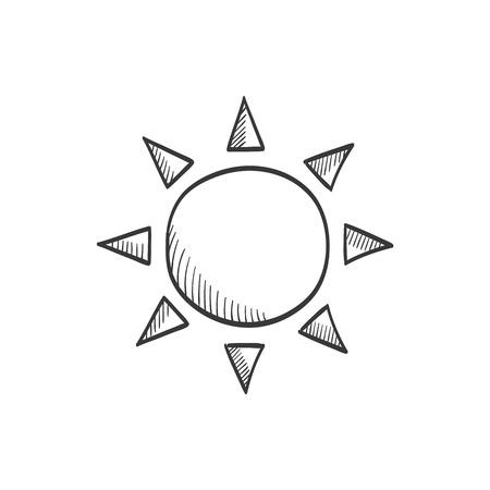 Sun vector sketch icon Ilustração